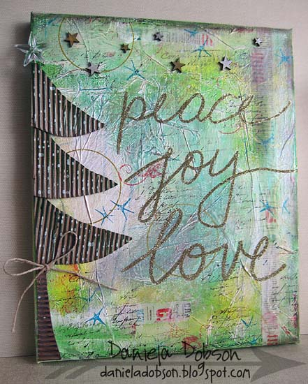 Peace joy love canvas by Daniela Dobson