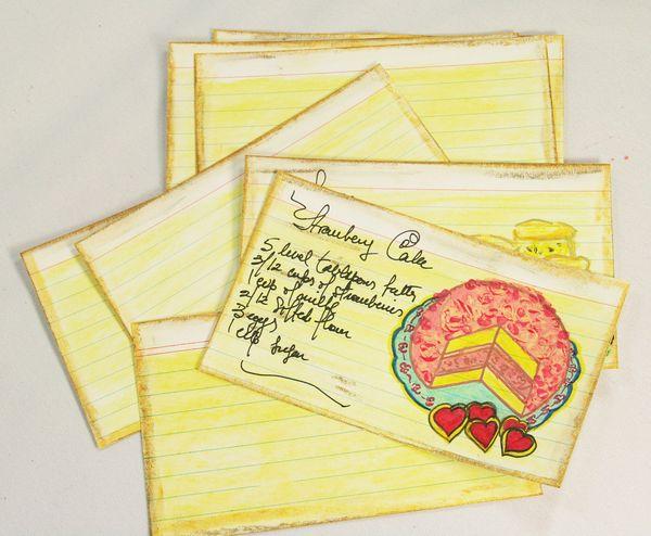 STRAWBERRY CAKE  - RECIPE CARDS