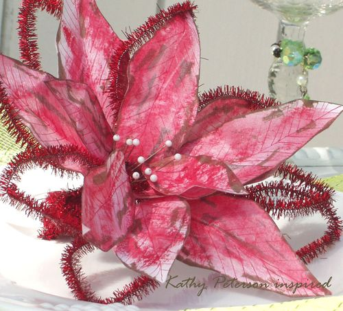 Kathy Peterson inspired side view of paper poinsetta