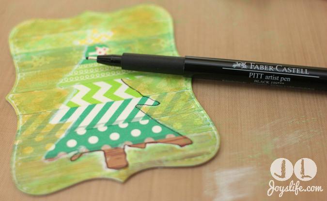 Christmas Tree Washi with Pitt Pen w