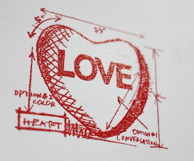 Love Note Embossing as a Resist