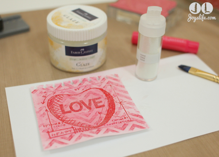 Love Note adding Glaze and Glitter w