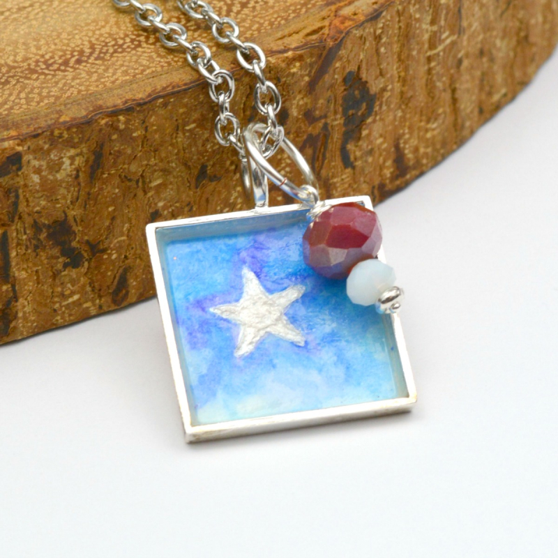 Patriotic Watercolor Necklace 9