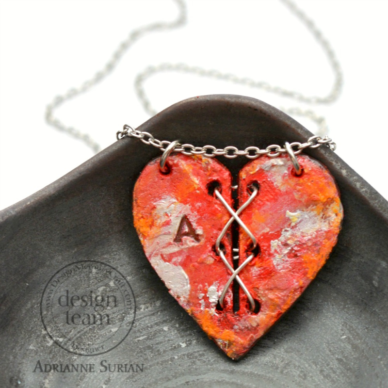 Stitched Heart Necklace Red Cherry 1.1