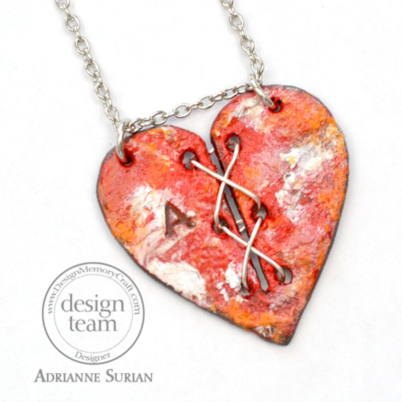 Stitched Heart Necklace Red Cherry 3.1