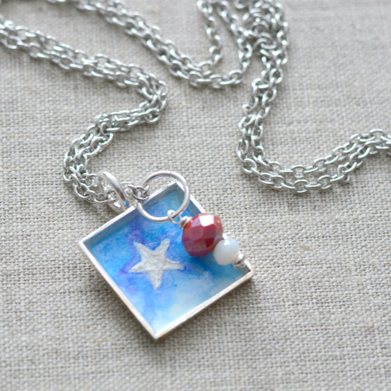 Patriotic Watercolor Necklace 7