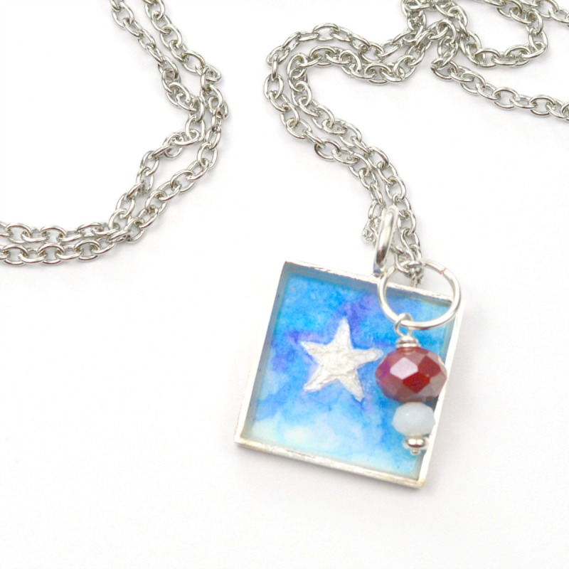 Patriotic Watercolor Necklace 8