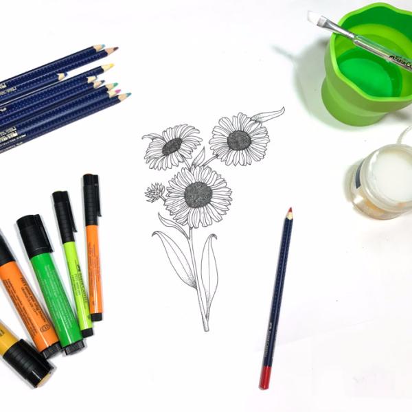 Pitt-pens-glaze-coloring-flower-carolyn-dube-11